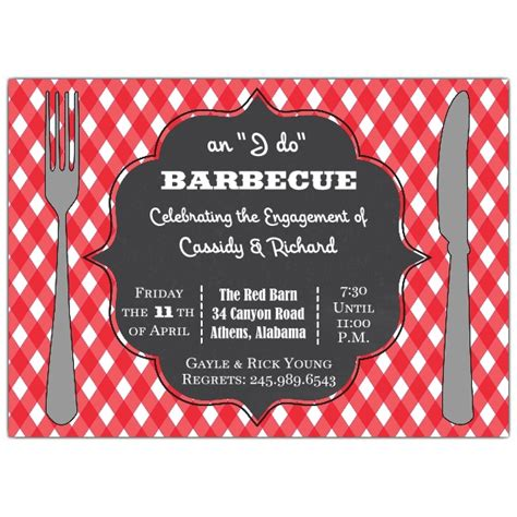 Backyard Birthday Party Invitations I Do Engagement Barbecue Invitations Paperstyle