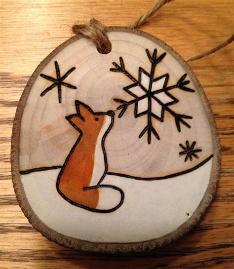 rustic wood burned hand painted christmas ornament natural wood  ornaments pinterest