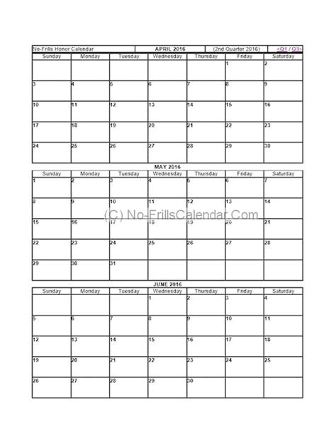 printable quarterly calendar 2016 printable quarter 2016 calendar calendar template 2018