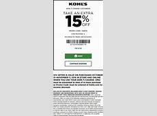 Kohls Coupons - Extra 15% off at Kohls, or online via ... Restaurant Promo Code October 2016