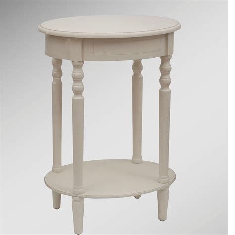 reigna antique white oval accent table