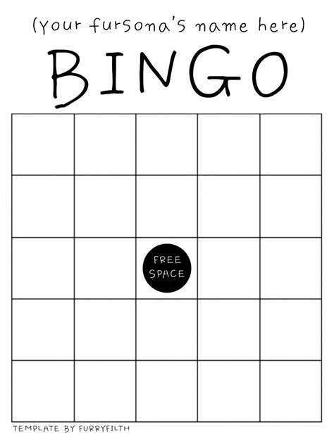bingo sheet template fursona bingo template by furryfilth fur affinity dot net