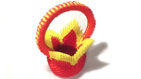 tutorial origami 3d basket 3d origami flower basket tutorial youtube
