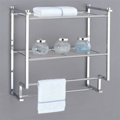 Bathroom Wall Shelves With Towel Bar Bathroom Shelves Wall Mount Rack 2 Tier Towel Bar Storage Chrome Finish Metallic Ebay