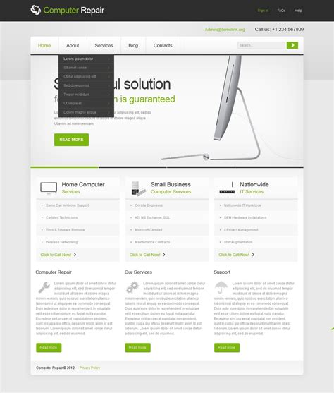 computer repair joomla template web design templates
