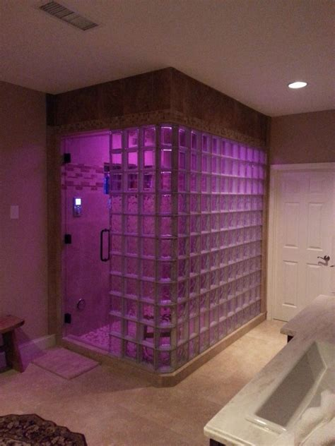 Basement Bathrooms Ideas by Glass Block Steam Shower With Thinner Glass Blocks In