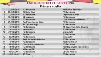 Calendario Dela Liga Española De Fútbol 2016 El Calendario De Laliga Completo Fc Barcelona