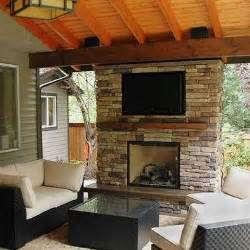 Covered Fireplace by Covered Deck W Fireplace Lawns And Gardens