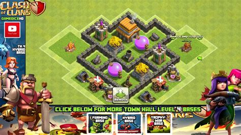 coc layout for th4 clash of clans town hall 4 defense coc th4 best hybrid
