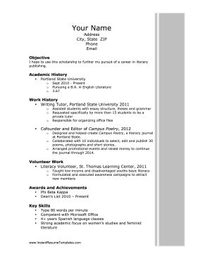 scholarship resume template scholarship resume template