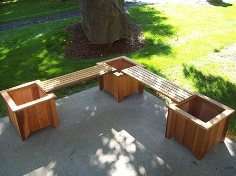 wood planter bench cedar planter bench set by wood country