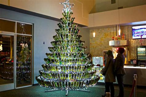 christmas tree made from wine bottles pubs started putting up their own trees made out of wine bottles