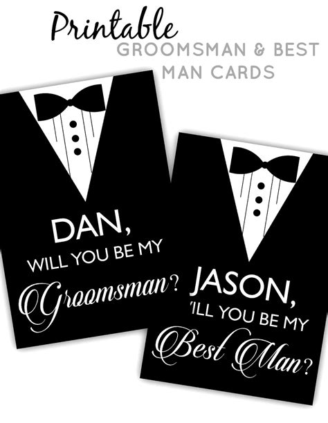 Printable Groomsman Best Man Cards Posh Pixel Boutique Groomsmen Template