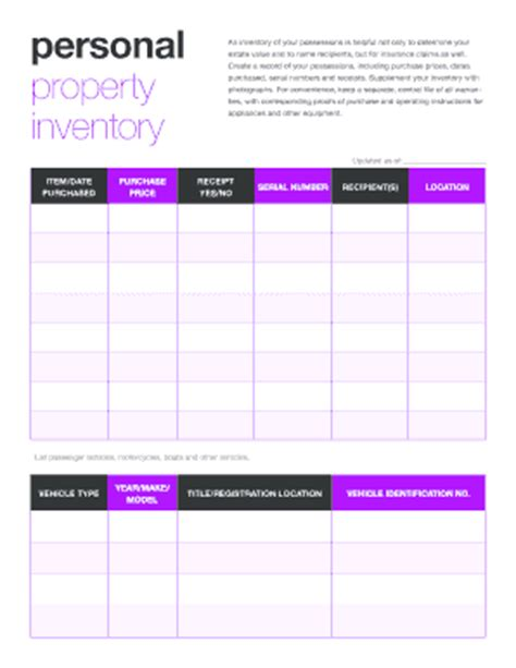 personal property inventory template personal property inventory forms to print go