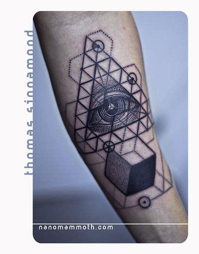 geometric tattoo usa tattoo geometric forearm cube eye triangle