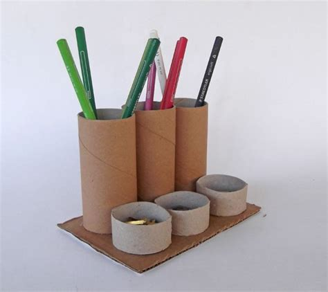Recycle Toilet Paper Rolls Crafts - desk organizer how to make with toilet paper rolls