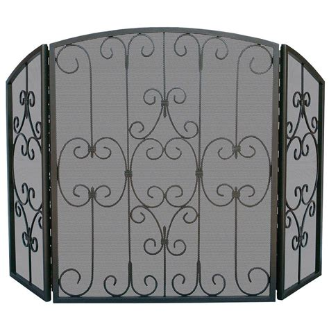 uniflame graphite 3 panel fireplace screen with decorative