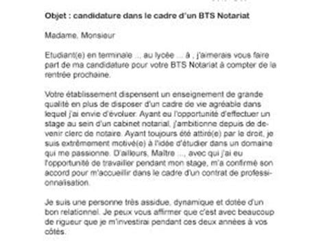 Exemple Lettre De Motivation école Notariat Modele Lettre De Motivation Bts Notariat Document
