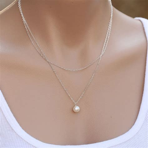Choker Pearl Gold Chain Layered Choker 2015 fashion jewelry womens simple 2 layers pearl necklace chain gifts ebay