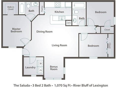 3 bedroom 2 bath open floor plans apartment floor plans pricing river bluff of lexington