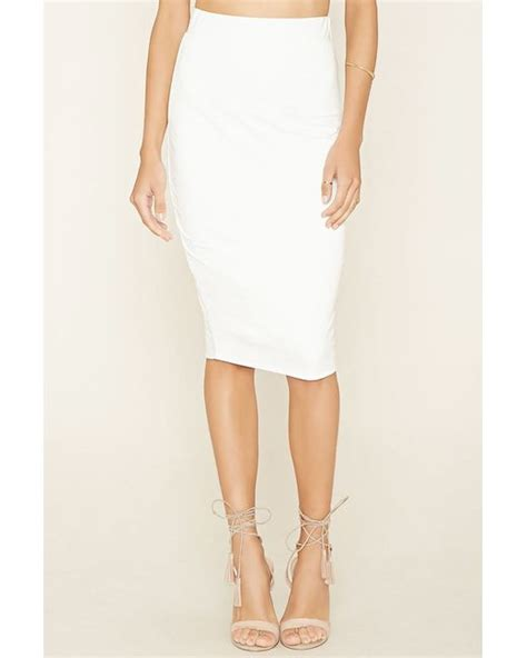 forever 21 layered pencil skirt in white ivory lyst