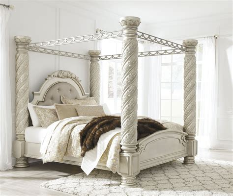 north shore king canopy bed cassimore north shore pearl silver king upholstered poster canopy bed from ashley