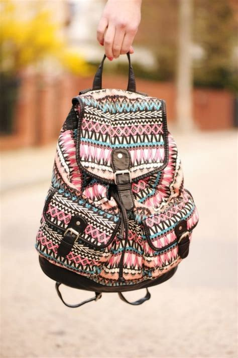 tribal pattern handbags bag backpack aztec aztec bag rucksack pink blue