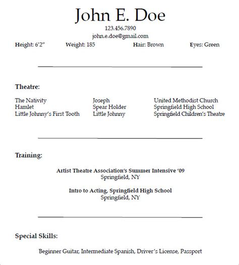 beginner commercial acting resume template