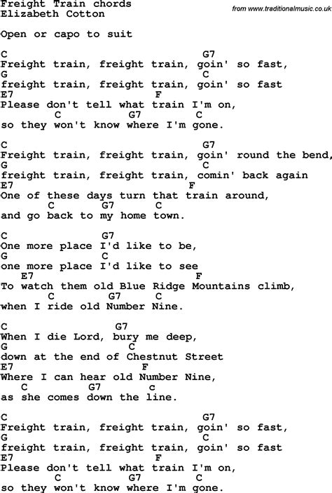 Song lyrics with guitar chords for Freight Train