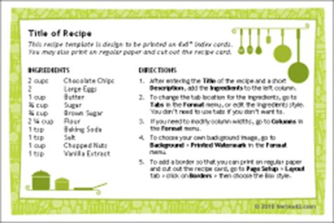 recipe templates for word 2010 recipe cards for word libere las revisiones de la