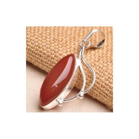 Batu Liontin Cantik liontin kalung batu mulia carnelian dengan silver plated