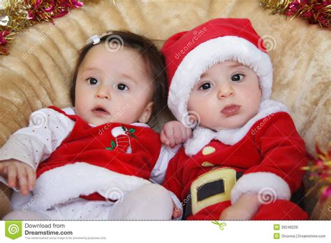 Fraternal Twins Boy And Girl Royalty Free Stock Image Christmas Funny Small Kids In Santa Pictures Of Small Children