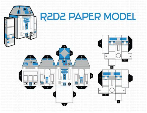 R2d2 Papercraft - instant dl r2d2 paper model paper craft paper diy