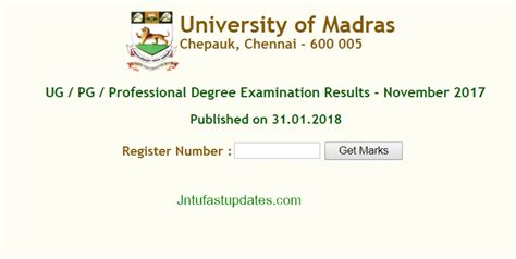 Madras Mba Result June 2017 by Madras Results 2018 Declared Unom Result Ug