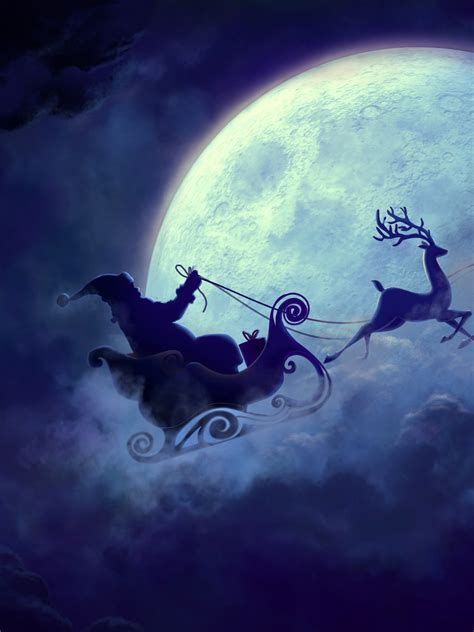 wallpaper santa claus reindeer chariot full moon hd