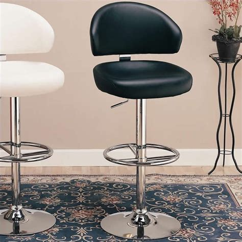 contemporary kelly rolling chrome and black adjustable height stool contemporary bar stools coaster 29 quot adjustable bar stool in black 120342