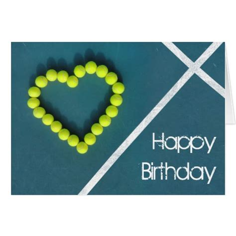 Tennis Birthday Cards Tennis Heart Happy Birthday Personalized Card Zazzle