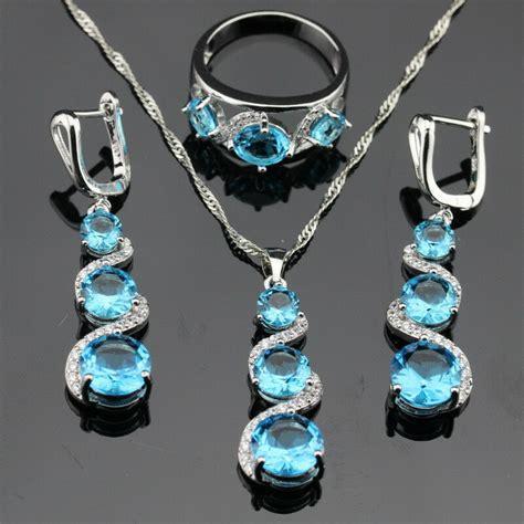 twisted sky blue topaz jewelry set 925 silver necklace