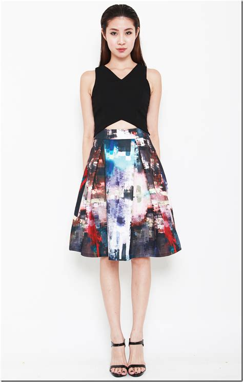 Patterned A Line Midi Skirt patterned midi skirt fashion skirts
