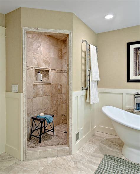 Walk in showers no doors bathroom contemporary with beige floor glass partition