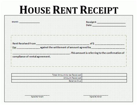 summer c receipt template rent receipt format for house and property free business