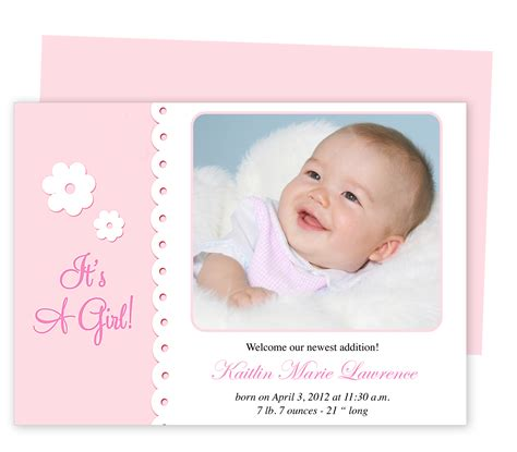 Free Birth Announcement Template by Birth Announcement Template Tristarhomecareinc