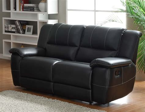 Homelegance Cantrell Reclining Sofa Set Black Bonded Black Leather Recliner Sofa Set