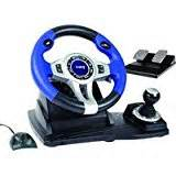 Logic3 Blue Steering Wheel And Pedals Pc Ps2 Ps3 Trust Gxt 27 Vibration Steering Wheel Ps3 Ps2 Pc