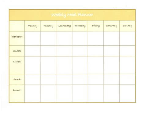 menu chart template weekly menu template