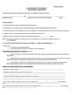 telework agreement template mobile device and teleworking policy template fill out
