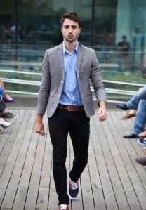light blue shirt grey jacket casual chic