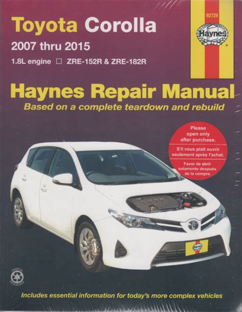 Toyota Repair Manual Toyota Corolla 2007 2015 Haynes Service Repair Manual