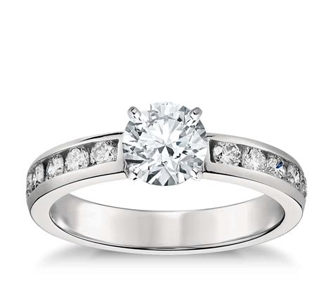 channel set engagement ring in platinum 1 2 ct