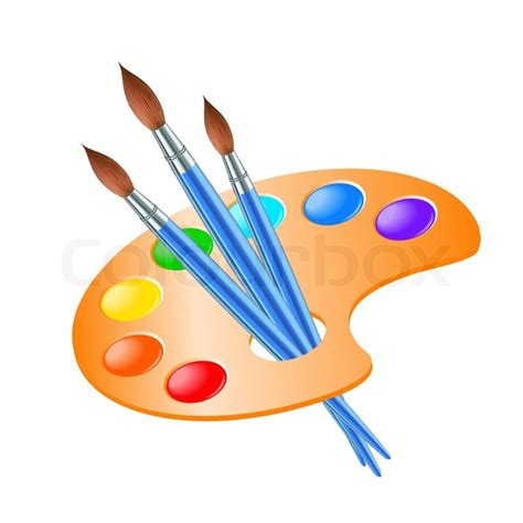 draw painting palette with paint brush for drawing stock vector
